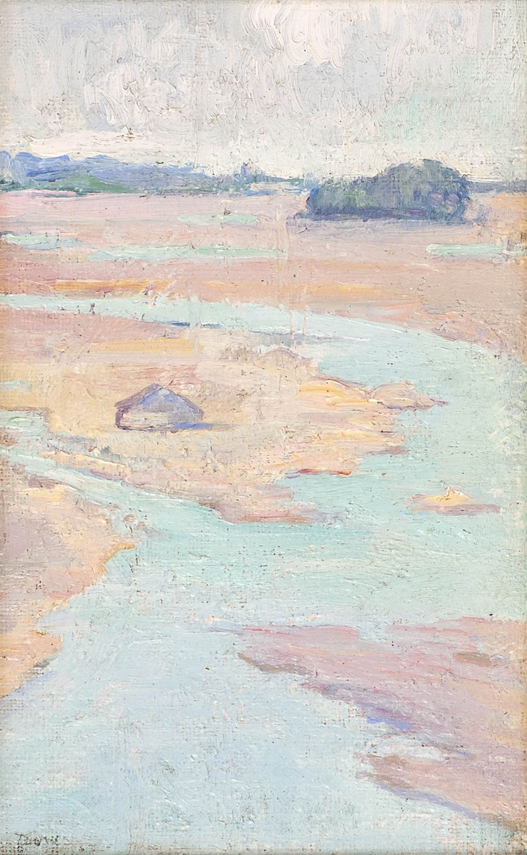 """North Shore Marshes,"" Arthur Wesley Dow, oil on board, 8 x 5"", private collection."