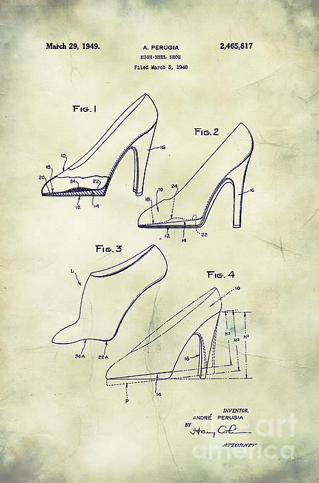 f0969bf2b5 1949 Women's High Heel Shoes Patent Art in Black on White Aged Parchment  Paper. Patent awarded to Andre Perugia.