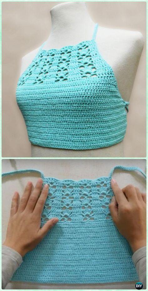 Crochet Aqua Halter Crop Top Free Pattern Crochet Women Crop Top
