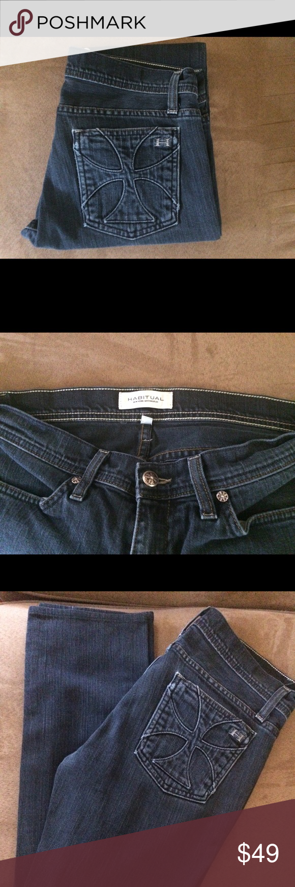 """Habitual Caroline jean (blue denim) size 27 Habitual Caroline straight leg jean (blue denim) size 27 inseam 29 1/2"""" rise 7"""" and Leg opening 6"""". Normal user wear and fade. No wear on hems. No tears holes or stains. Overall in good used condition Habitual Jeans Straight Leg"""