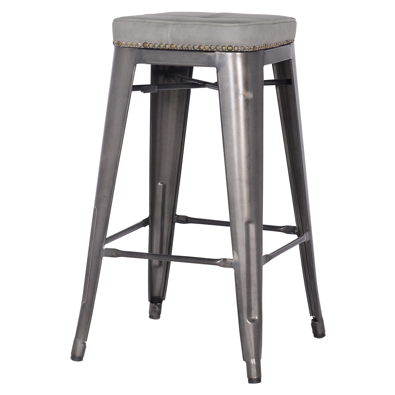 Metropolis Kd Pu Metal Backless Counter Stool Vintage Mist Gray Dimensions 17 00 W 17 00 D 27 50 H Material Pu Bar Stools French Bar Stool Stool