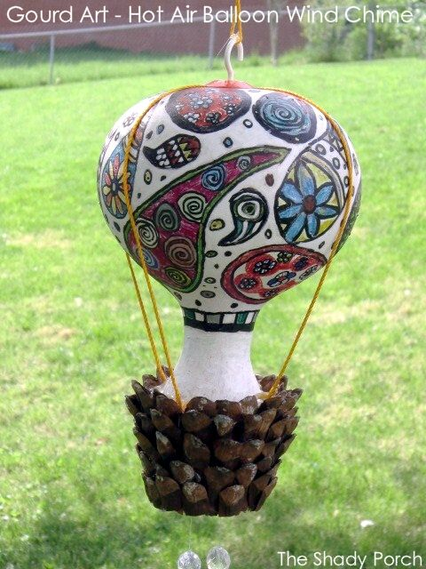 Gourd Art Hot Air Balloon Wind Chime By The Shady Porch Perfect In A Fairy Garden