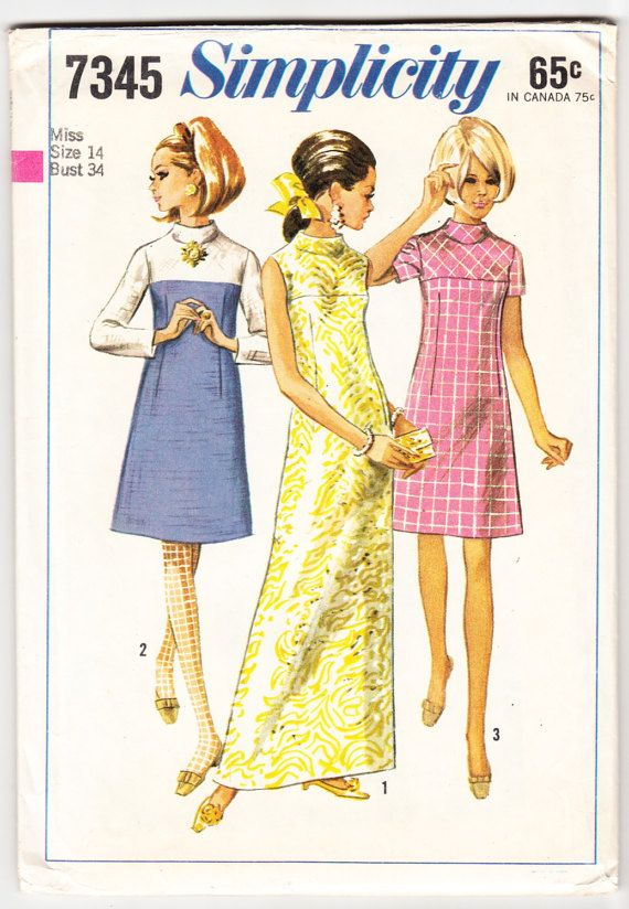 Jahrgang 1967 Einfachheit 7345 Nähen Muster Misses Kleid in | 60er ...