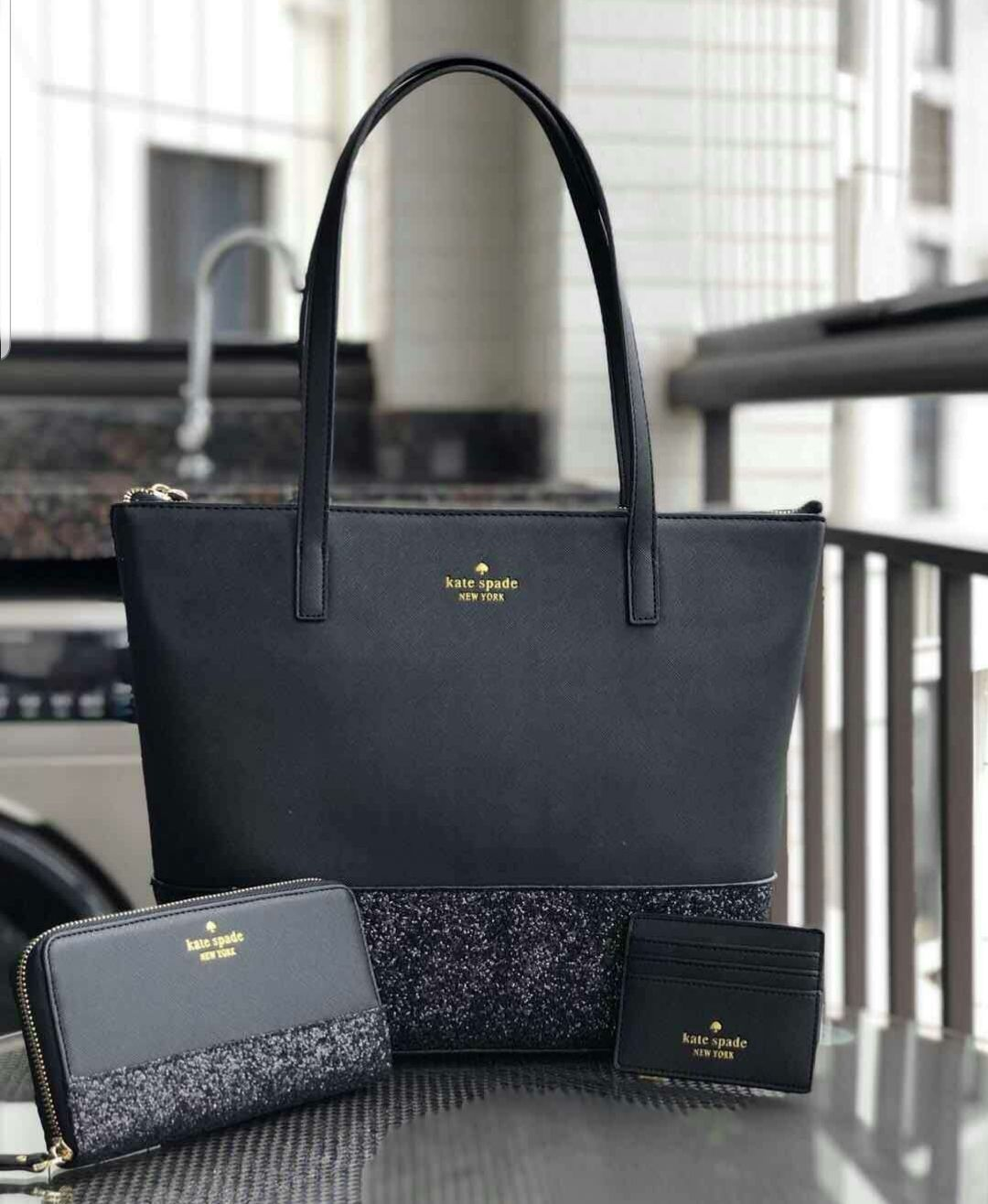 Kate Spade Glitter Tote 3 Piece Set Comes With Matching Cc Wallet And Small Bag.