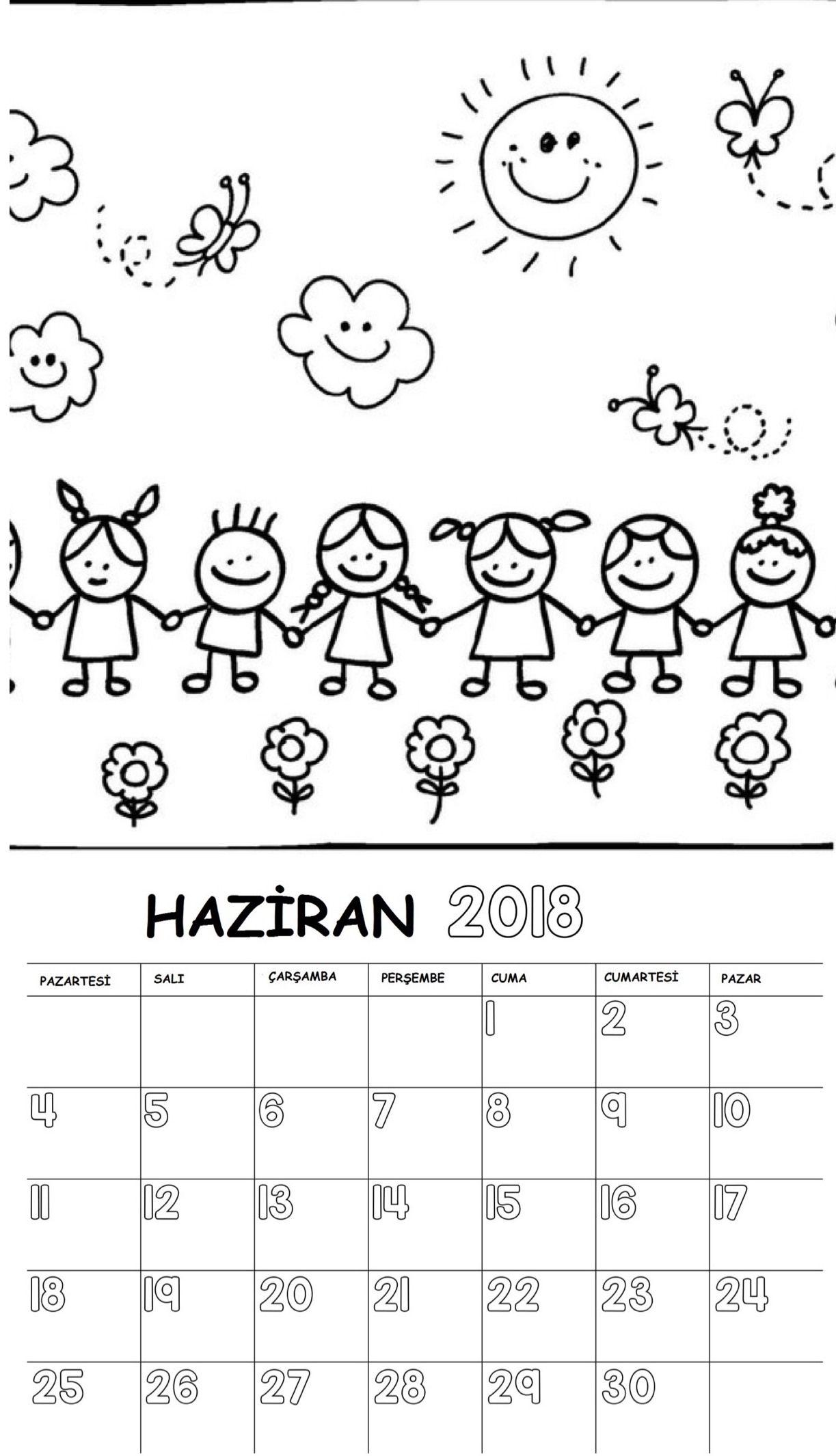 Okul öncesi 2018 Boyama Sayfalı Takvimi Anneler Günü Preschool
