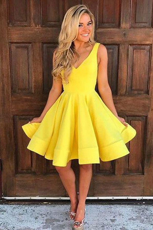 A-line Yellow Satin Short Prom Dress Homecoming Dress Short Prom ...