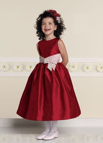 Red flower girl dress | Red,Black, and White Bridesmaids Dresses ...