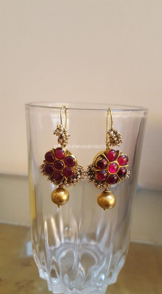 Gold Antique Ruby Earrings Design For More Collections Check The Complete Collection On Our Website