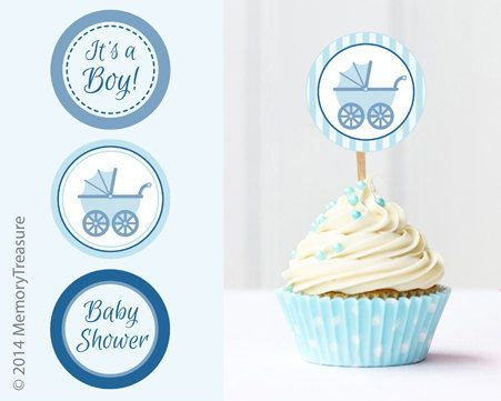 Boy Baby Shower Cupcake Toppers Printable Baby By Memorytreasure