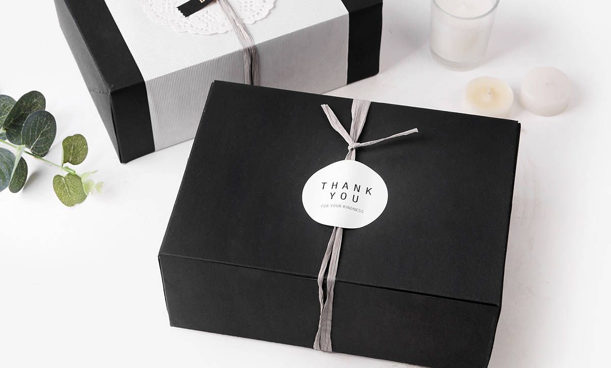 4 Medium Size Black Gift Box Favor Bakery Cookie