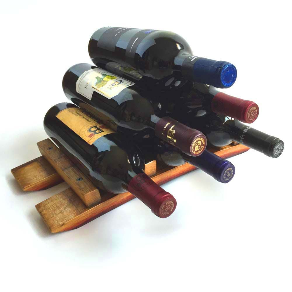 Custom Made Barrel Stave Small Countertop Wine Rack Wine Bottle