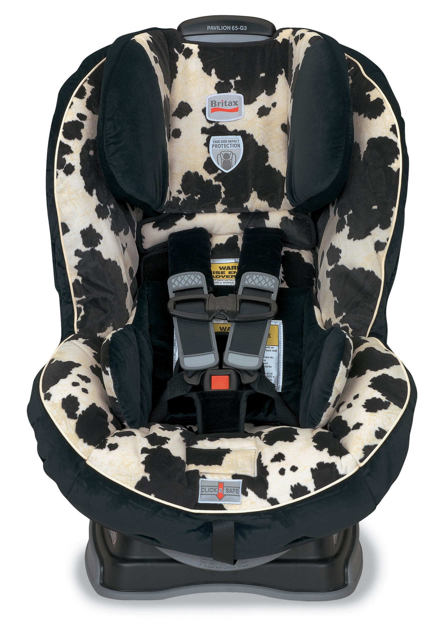 Britax pavilion 70 convertible car seat cowmooflage hugs chest pads with safecell technology are affixed to the seat shell to ensure proper positioning