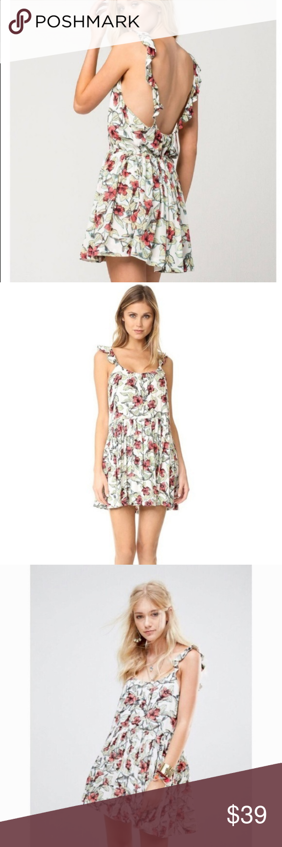 c46a8d31791d NWT Free People Dear You White Floral Dress Free People Dear You floral  mini-dress. - NWT! White w  pink and green flower print. Size  Large Free  People ...