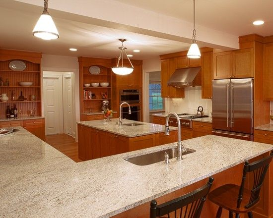 Kashmir White Granite Design, Pictures, Remodel, Decor and ... on What Color Granite Goes With Honey Maple Cabinets  id=29924