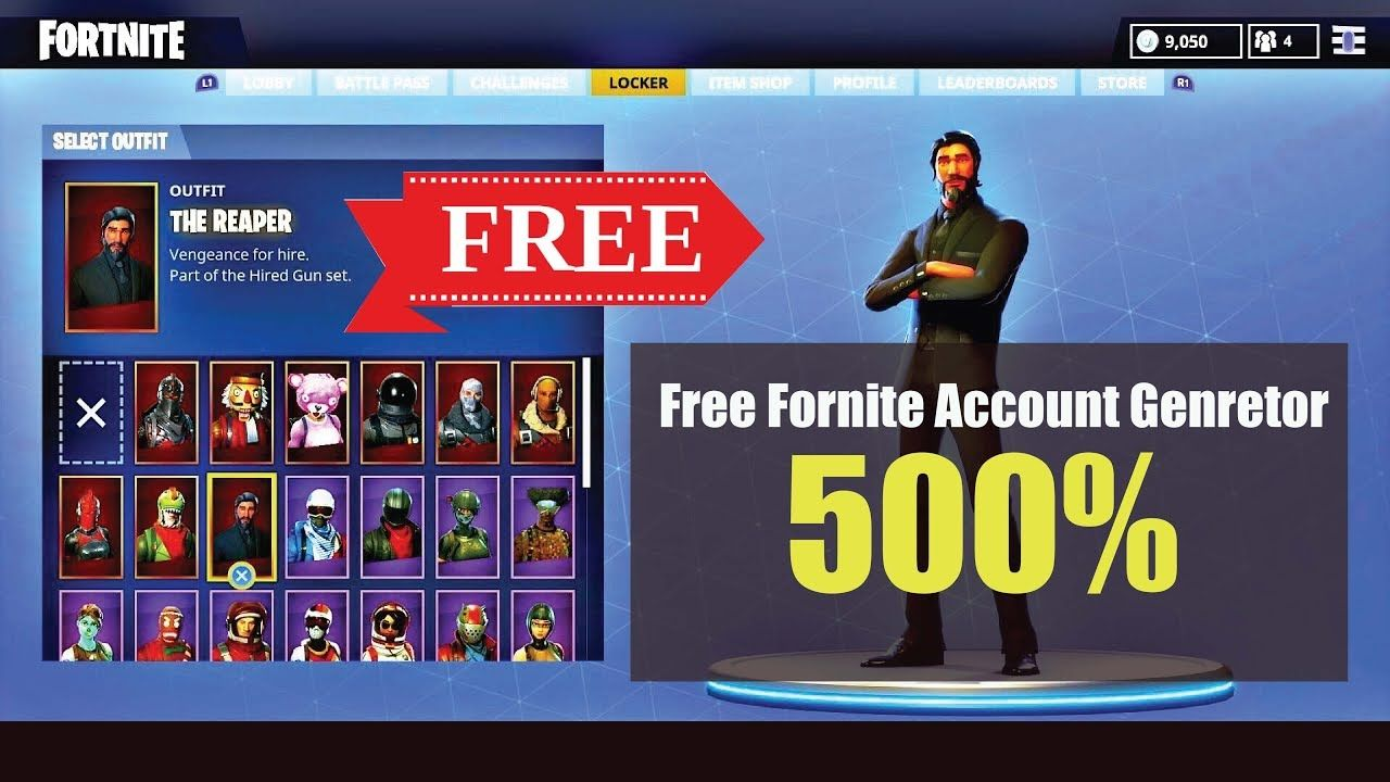 Free fortnite Account Generator 500% working , Yes It