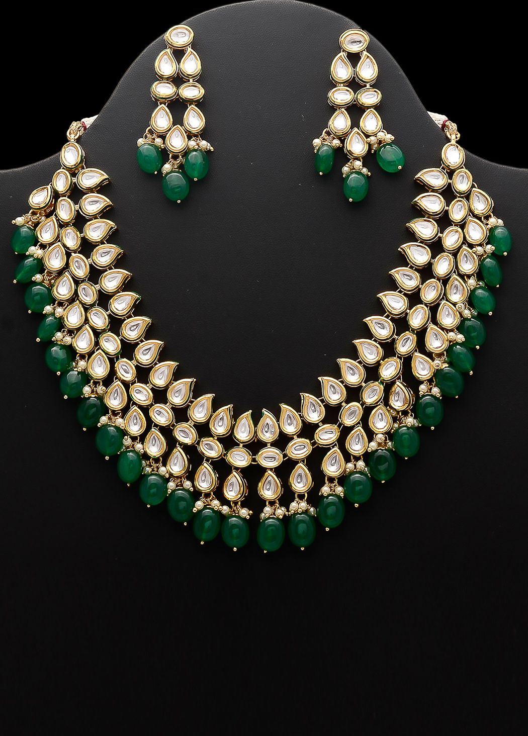 2b9a603b9bf2d Golden and #green colored #necklace set embellished #kundan, #polki ...