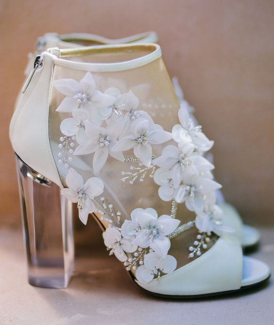 9dbe9bd5281 ultra modern sheer peep toe booties with floral appliques