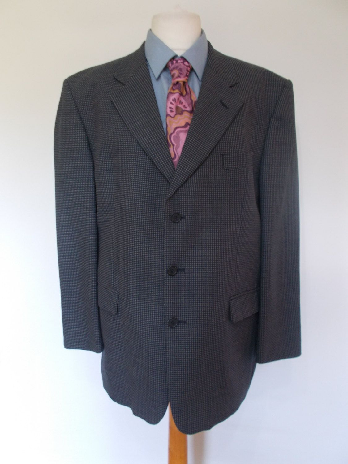 Mens jacket marks and spencer - Vintage 90s Mens Jacket By Marks Spencer Wool Mix Navy Check Blazer With No Back Vents 44 Chest Large