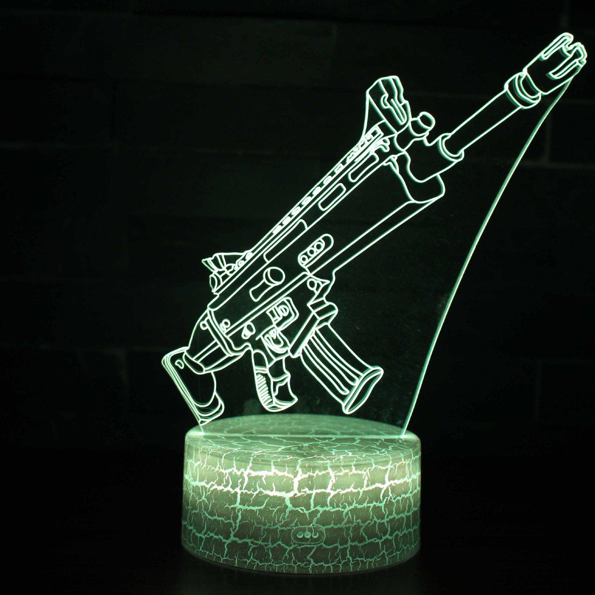 Fortnite Gewehr 3d Illusion Lampe Nachtlicht Schrebtischlampe Optische Tauschung Lampe Tischlampe Geschenk Acrylic Colors Toys Gift Action Figures