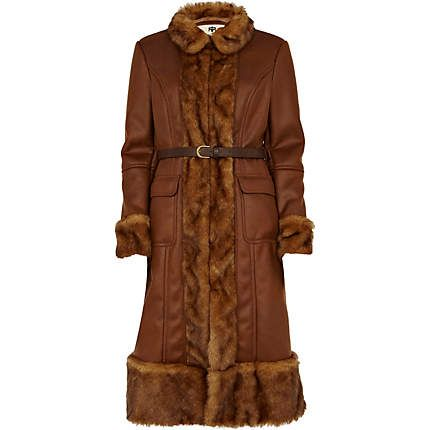 brown faux fux trim longline coat - coats - coats / jackets ...
