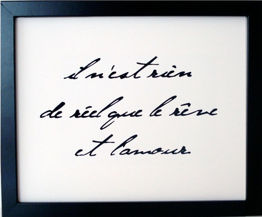 il ne rien de reel que le reve et l'amour  (nothing is real but dreams and love)