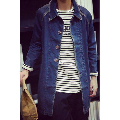 $45.11 (Buy here: http://appdeal.ru/bsx1 ) Slimming Turn-Down Collar Long Sleeve Lengthen Men's Denim Jacket for just $45.11