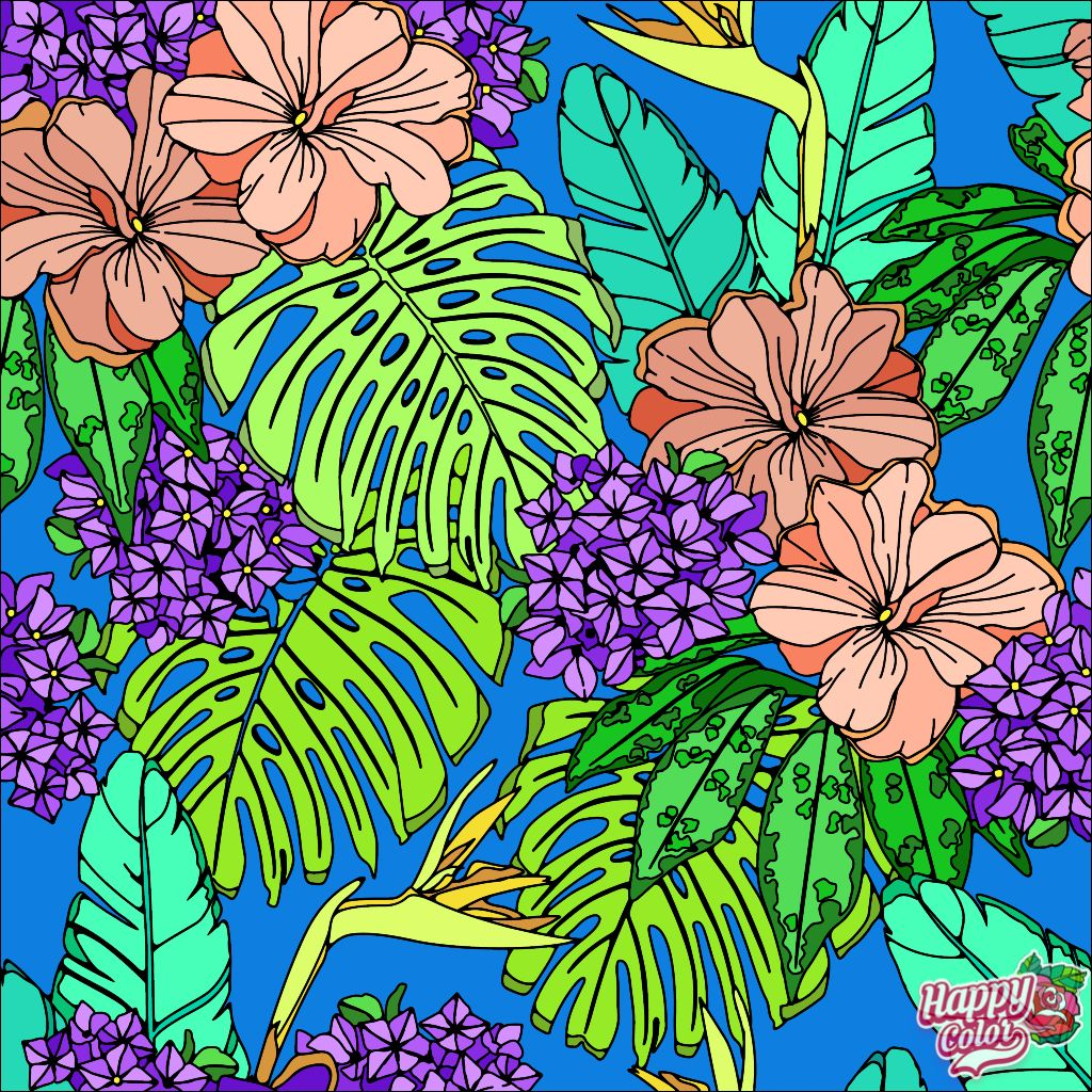 Tropical Garden With Images Coloring Book App Painting Art Projects Colorful Art