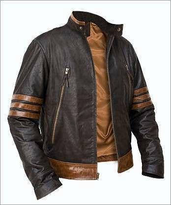 X-Men Wolverine Leather Jacket Brown Vintage Biker Style Real Sheepskin Racer