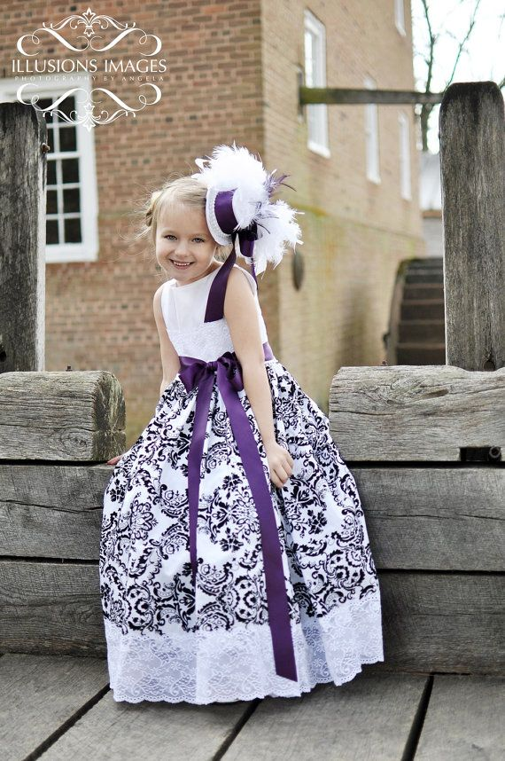Damask Girls Dress with a touch of lace by sharpsissors on Etsy, $94.00