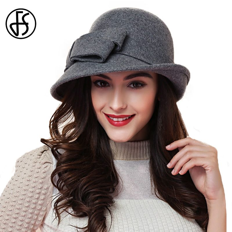 FS Elegant Ladies Wool Felt Bowler Fedora Hats Black Red Khaki Autumn Winter  Women Large Bowknot Wide Brimmed Church Cloche Hats dcffd124923c