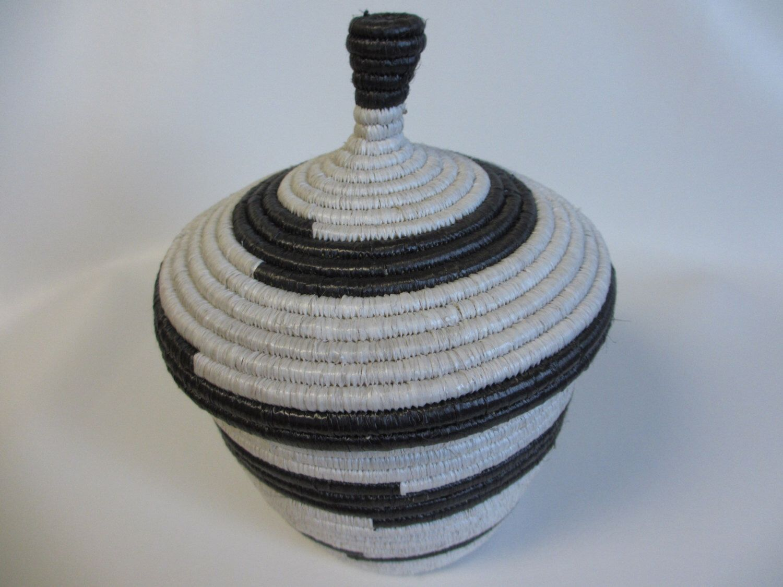 Large Black and White Handwoven African Basket with Lid, Great Gift Basket, Guys Gift Basket, Fair Trade Basket, Decorative Storage, Ugandan by NyakaGrandmotherShop on Etsy https://www.etsy.com/ca/listing/460992214/large-black-and-white-handwoven-african