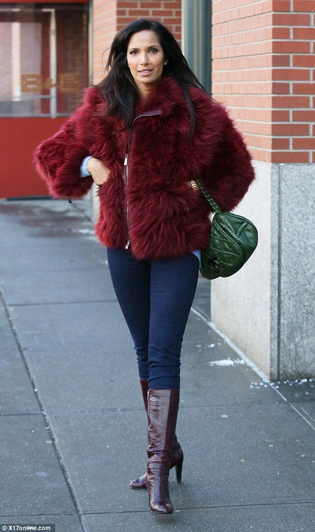 Padma Lakshmi Steps Out In Style Green Handbag Contrast Color And