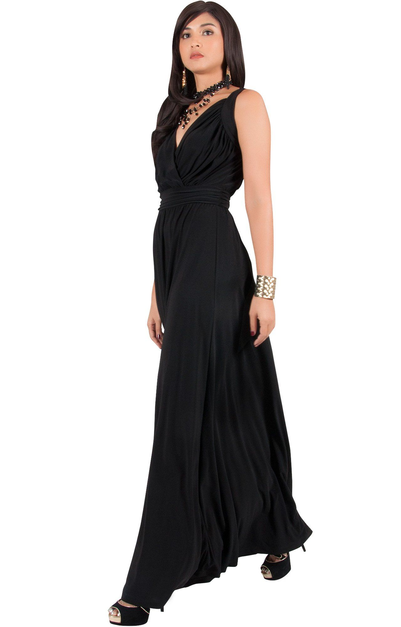 7d9ab6af058 Maternity Dresses - KOH KOH Plus Size Women Long Sleeveless Flowy  Bridesmaids Cocktail Party Evening Formal