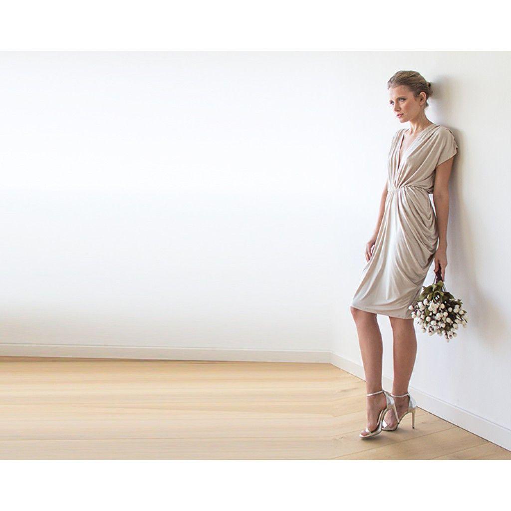 Short bridesmaid dress champagne dress knee length dress formal