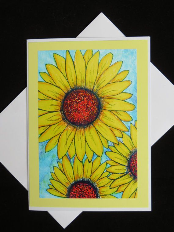 Sunflowers photo of hand drawn flowers on by MitchiesGalleria