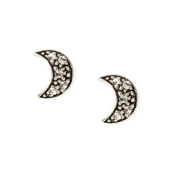 Sterling Silver Crystal Moon Stud Earrings | Claire's ($35) ❤ liked on Polyvore featuring jewelry, earrings, crystal stud earrings, sterling silver stud earrings, sterling silver crystal jewelry, sterling silver earrings and crystal jewellery