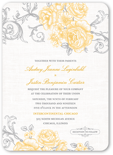 Antique Rose Scrolls 5x7 Wedding Invitation Cards Shutterfly