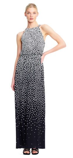 Adrianna Papell | Ombre Dot Print Maxi Dress with Halter ...