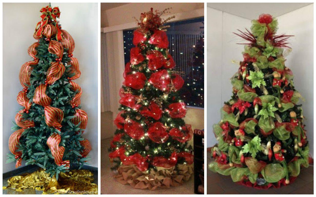 Como Decorar Un Hermoso Arbol De Navidad Con Mallas Ideas Para Arboles De Navidad Decoracion De Arboles Arbol De Navidad
