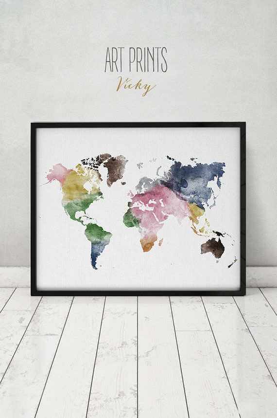 Travel map large world map watercolor world map wall art world travel map large world map watercolor world map wall art world map gumiabroncs Images