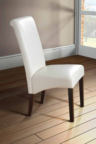 Scroll Roll Back Leather Ivory Dining Chairs Dark Legs  Single Best Single Dining Room Chairs Decorating Inspiration