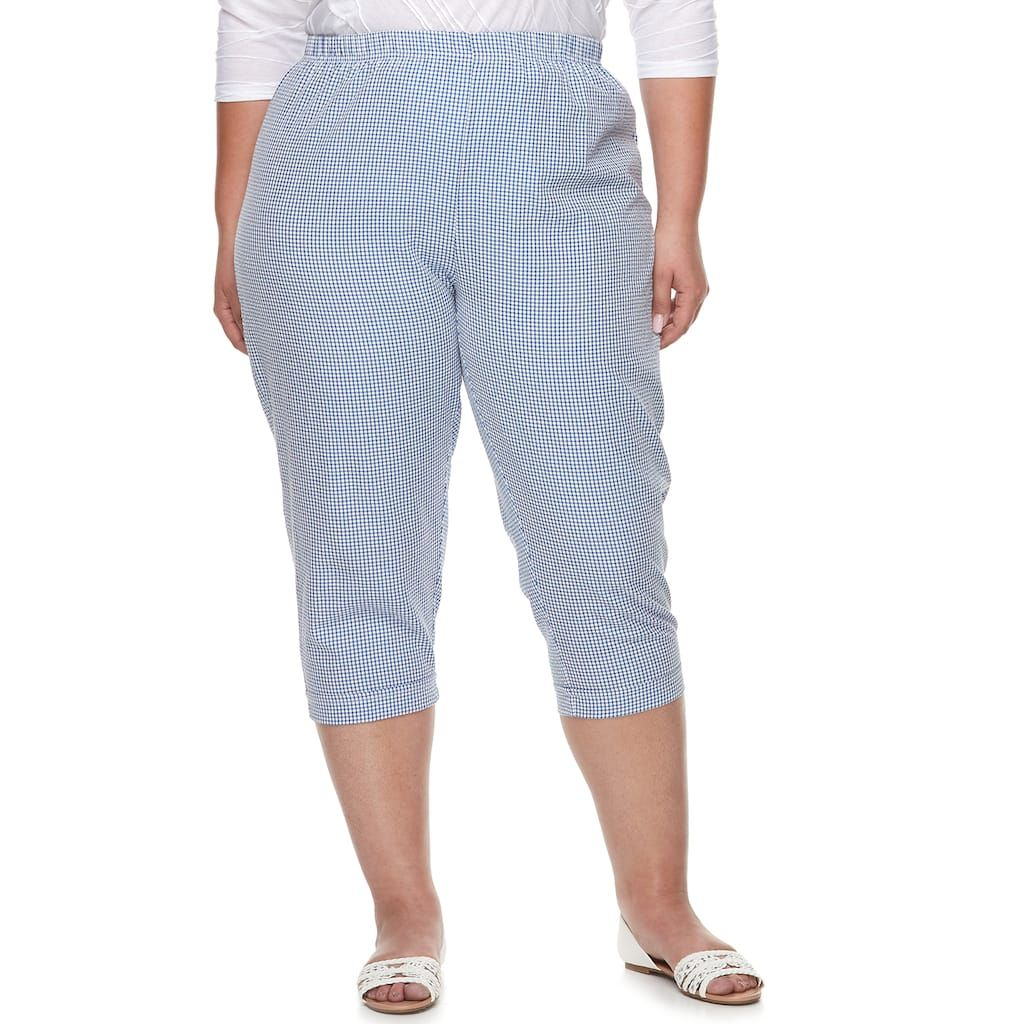 e361d8c71bf Plus Size Cathy Daniels Gingham Pull-On Capris in 2019