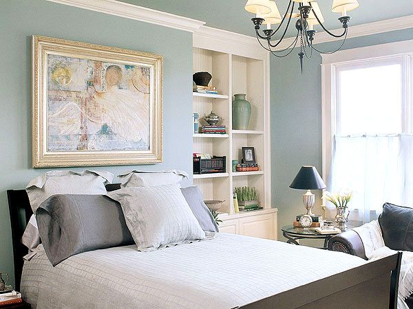 built in shelves in bedroom - Relaxing Master Bedroom Decorating Ideas