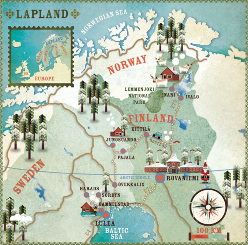 Illustration Map Lapland Which Covers Much Of The Northern Areas Of Finland Sweden And Norway Scandinavie Kaarten Finland