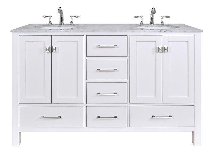 Stufurhome 60 inch Malibu Pure White Double Sink Bathroom Vanity in