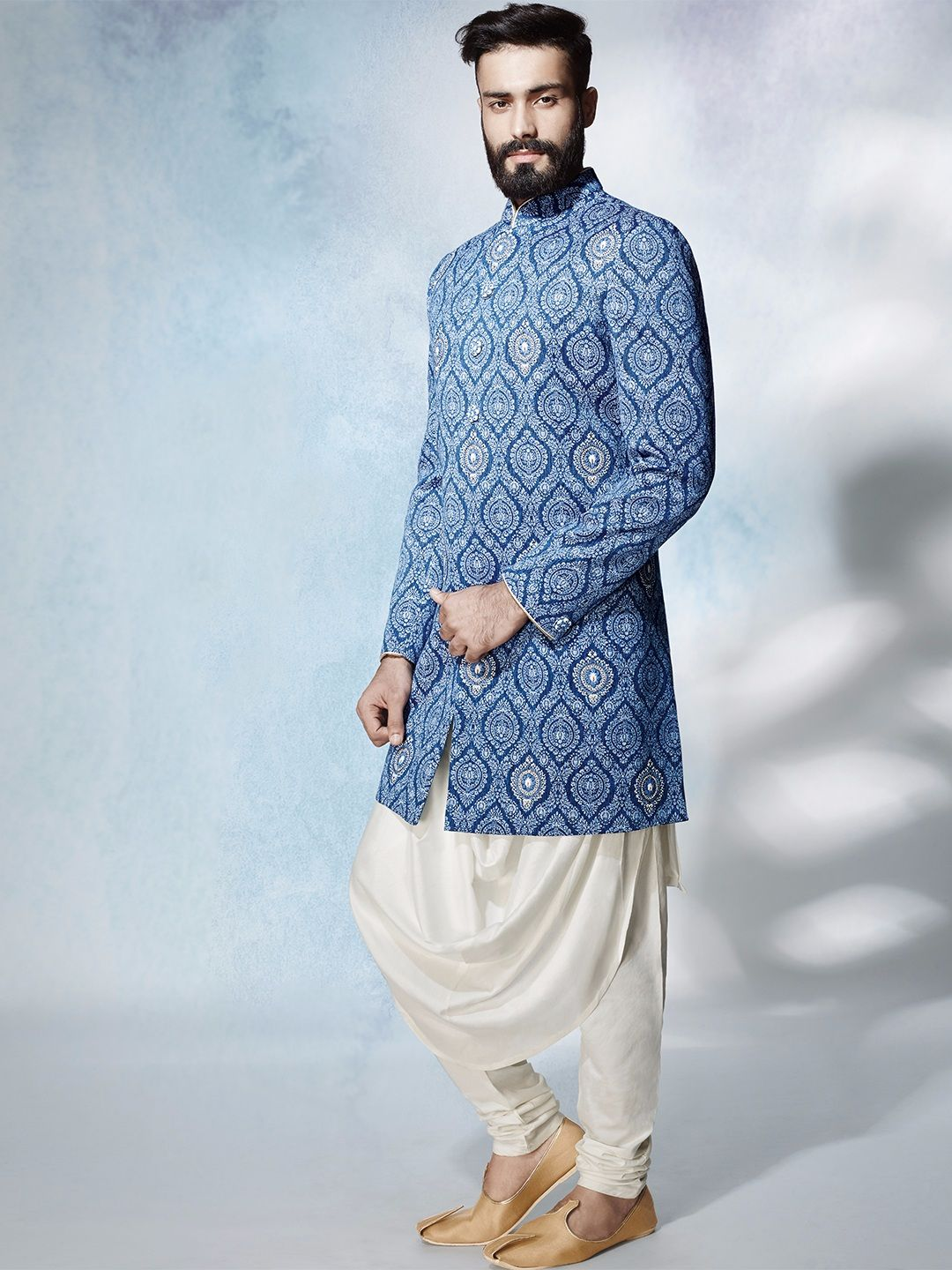 Shop Blue Layered printed silk Indo Western online from G3fashion ...