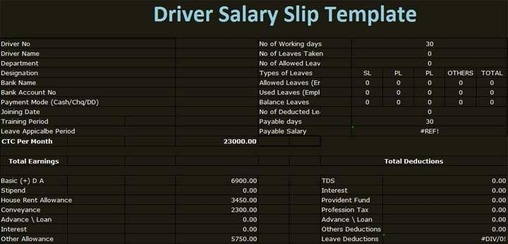 Download Driver Salary Slip Template Excel format in excel for