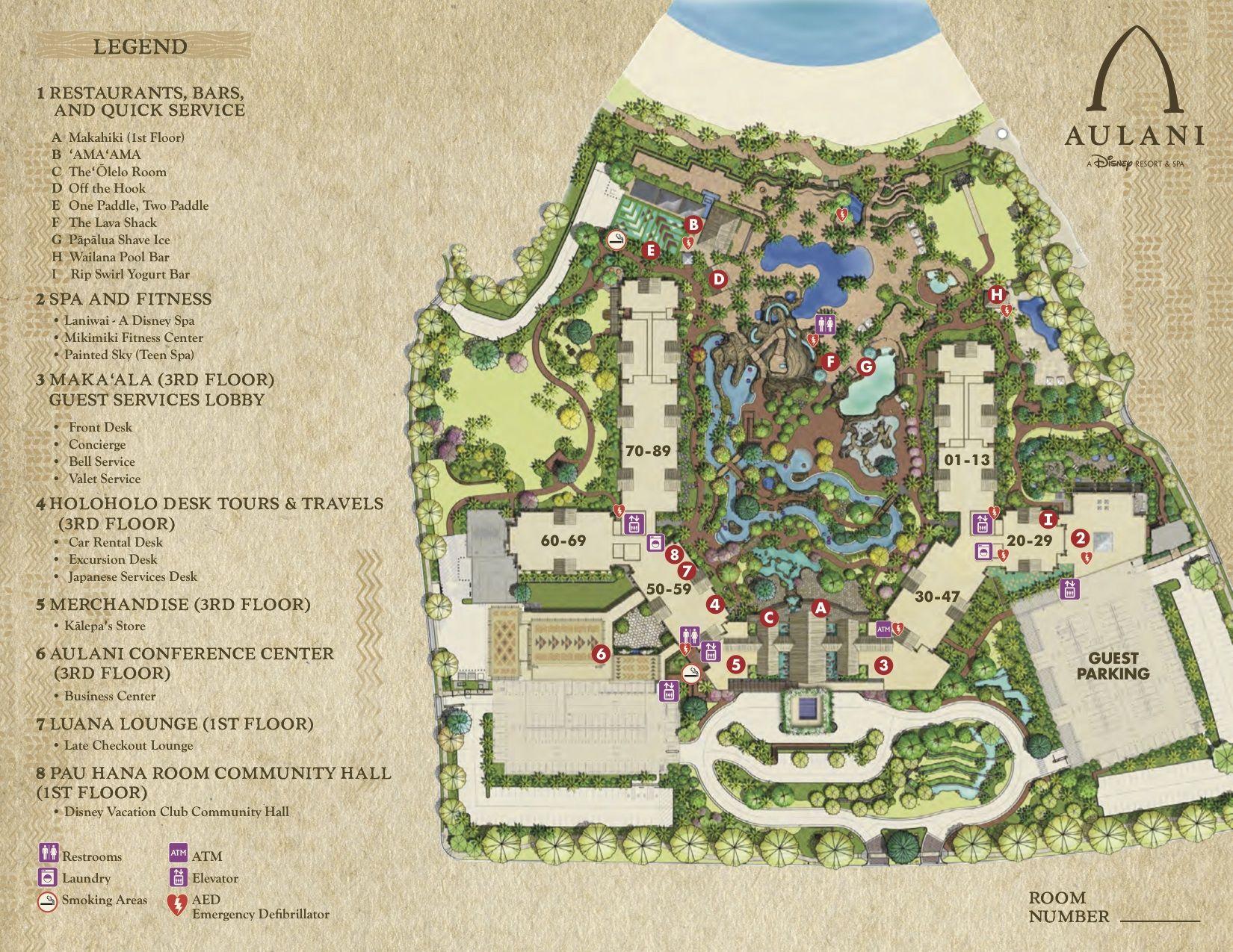 DVC Aulani Resort Map | Aulani Hawaii DVC | Disney resorts, Disney