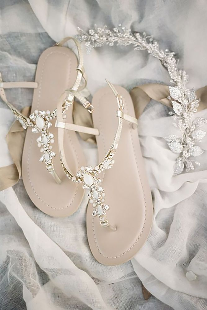 11aaaf76f8ffe4 Sparkling Bridal Sandals for a Whimsical Summer Wedding. 18 Elegant White Wedding  Shoes ❤ See more  http   www.