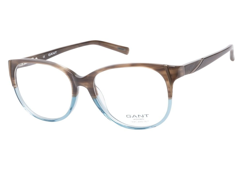 f0ea0f6aba4 These Gant Woman Mona Brown Blue eyeglasses are fun and earthy. This full  acetate frame has a brown striated upper and crystal blue lower with  rounded ...